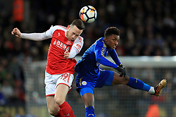 Fleetwood Town's Gethin Jones (left) and Leicester City's Kelechi Iheanacho battle for the ball