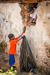 Junior Rodgers, left, assists Kai Frett as he cleans out the crawl space under a Garden Street building.  Residents and volunteers gather for the Garden Street neighborhood cleanup and block Party hosted by E's Garden and Things, Long Path/Garden Street Community Association, and the Economic Development Authority's Enterprise and Commerical Zone Commission.  St. Thomas, USVI.  5 September 2015.  © Aisha-Zakiya Boyd