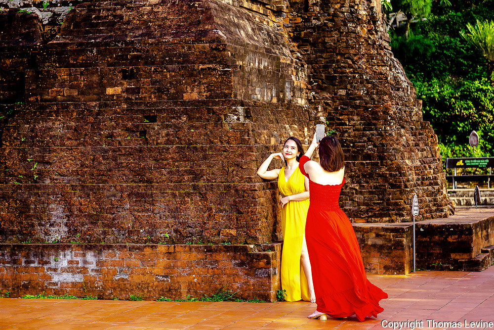 Fine Art: A model and photographer at the Chama Ruins at Tuy Hoa.