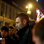 December 18, 2013 - Kiev, Ukraine: Vitaly Klitschko, leader of opposition party The Ukrainian Democratic Alliance for Reform (UDAR), speaks to supporters at the a pro-EU rally in Independence Square as protesters continued to congregate in the central square, known local as the Maidan, rallied by news of Russia's purchase of $15 billion of Ukrainian debt and agreeing to reduce the price of Russian gas supplies to the country by around a third. (Paulo Nunes dos Santos/Polaris)