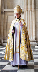 © Licensed to London News Pictures. 12/05/2018. London, UK. The Rt Revd and Rt Hon Dame Sarah Mullally DBE arrives at Saint Paul's Cathedral for a service which will install her as the 133rd Bishop of London.  The service coincides with International Nurses Day, Florence Nightingale's birthday, echoing Bishop Sarah's own former career in the NHS as a nurse, including as Chief Nursing Officer, before her ordination. Photo credit: Rob Pinney/LNP