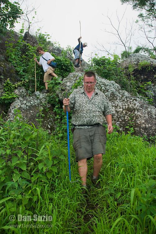 Herpetologist Hinrich Kaiser leads students on a hike on Atauro Island, Timor-Leste (East Timor)