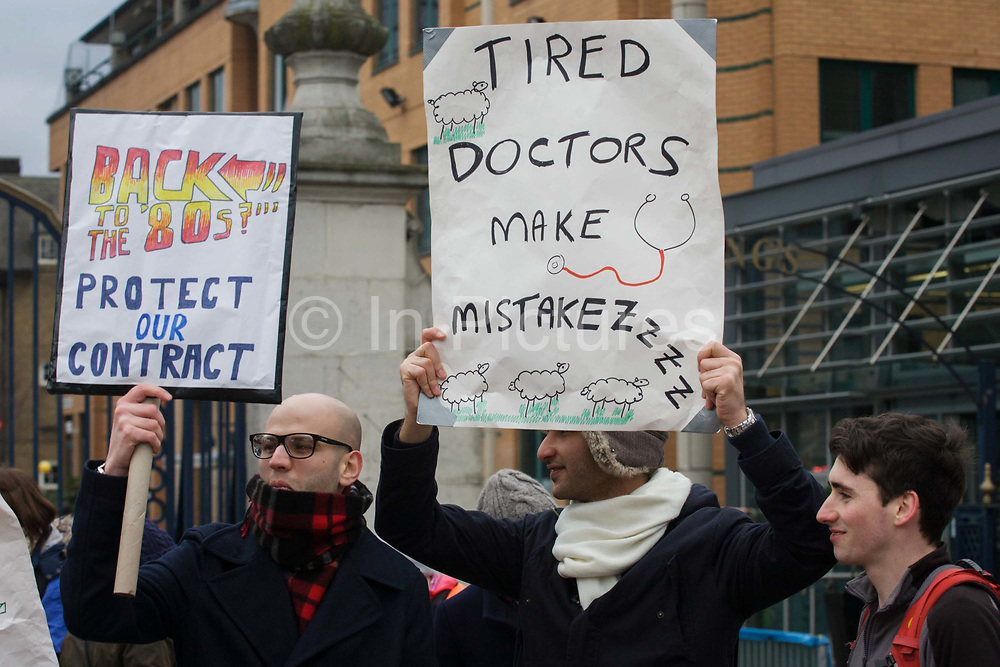 London, 12th January 2016: National Health Service (NHS) Junior Doctors under the banner of the British Medical Association (BMA) man a picket line outside Kings College Hospital in Camberwell, south London. The one-day strike is over pay and working conditions, the first such industrial action in 40 years.