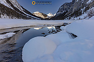 The North Saskatchewan River in winter in Banff National Park, Alberta, Canada