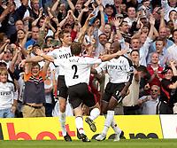 Photo: Daniel Hambury.<br /> Fulham v Everton. The Barclays Premiership.<br /> 27/08/2005.<br /> Fulham's Brian McBride celebrates his goal.
