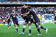 George Thorne of Derby County celebrates with his team mates after scoring his teams 2nd goal. Skybet football league Championship match, Huddersfield Town v Derby county at the John Smith's Stadium in Huddersfield , Yorkshire on Saturday 24th October 2015.<br /> pic by Chris Stading, Andrew Orchard sports photography.