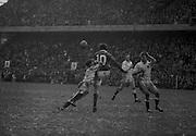 Irish Rugby Football Union, Ireland v England, Five Nations, Landsdowne Road, Dublin, Ireland, Saturday 8th February, 1969,.8.2.1969, 2.8.1969,..Referee- R P Burrell, Scottish Rugby Union, ..Score- Ireland 17 - 15 England, ..Irish Team, ..T J Kiernan,  Wearing number 15 Irish jersey, Captain of the Irish team, Full Back, Cork Constitution Rugby Football Club, Cork, Ireland,..A T A Duggan, Wearing number 14 Irish jersey, Right Wing, Landsdowne Rugby Football Club, Dublin, Ireland,..C M H Gibson, Wearing number 13 Irish jersey, Right Centre, N.I.F.C, Rugby Football Club, Belfast, Northern Ireland, ..F P K Bresnihan, Wearing number 12 Irish jersey, Left Centre, University College Dublin Rugby Football Club, Dublin, Ireland, ..J C M Moroney, Wearing number 11 Irish jersey, Left Wing, London Irish Rugby Football Club, Surrey, England, ..B J McGann, Wearing number 10 Irish jersey, Stand Off, Landsdowne Rugby Football Club, Dublin, Ireland, ..R M Young, Wearing number 9 Irish jersey, Scrum Half, Queens University Rugby Football Club, Belfast, Northern Ireland,..K G Goodall, Wearing number 8 Irish jersey, Forward, City of Derry Rugby Football Club, Derry, Northern Ireland,  ..J C Davidson, Wearing number 7 Irish jersey, Forward, Dungannon Rugby Football Club, Dungannon, Northern Ireland,  ..N Murphy, Wearing number 6 Irish jersey, Forward, Cork Constitution Rugby Football Club, Cork, Ireland,..M G Molloy, Wearing number 5 Irish jersey, Forward, London Irish Rugby Football Club, Surrey, England, ..W J McBride, Wearing number 4 Irish jersey, Forward, Ballymena Rugby Football Club, Antrim, Northern Ireland,..P O'Callaghan, Wearing number 3 Irish jersey, Forward, Dolphin Rugby Football Club, Cork, Ireland, ..K W Kennedy, Wearing number 2 Irish jersey, Forward, London Irish Rugby Football Club, Surrey, England, ..S Millar, Wearing number 1 Irish jersey, Forward, Ballymena Rugby Football Club, Antrim, Northern Ireland,..English Team, ..R B Hiller, Wearing number 15 English jersey