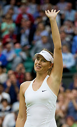 28.06.2014, All England Lawn Tennis Club, London, ENG, WTA Tour, Wimbledon, im Bild Maria Sharapova (RUS) celebrates after winning the Ladies' Singles 3rd Round match 6-3, 6-0 on day six // 15065000 during the Wimbledon Championships at the All England Lawn Tennis Club in London, Great Britain on 2014/06/28. EXPA Pictures © 2014, PhotoCredit: EXPA/ Propagandaphoto/ David Rawcliffe<br /> <br /> *****ATTENTION - OUT of ENG, GBR*****