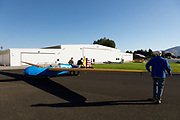 Schweizer TG-3 Training Glider being moved into place at WAAAM.