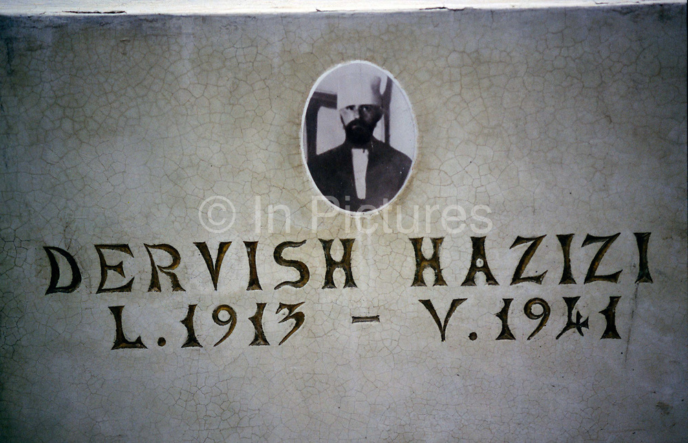 The grave of a revered Bektashi Dervish in the grounds of their orders' house in Tirana Albania. The Bektashi's are an order of Sufi's, Muslim mystics and were persecuted along with all other religions under the Communist regime
