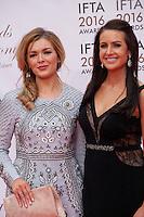TG4 Television presenters Caitlín Nic Aoidh and Mairéad Ní Chuaig at the IFTA Film & Drama Awards (The Irish Film & Television Academy) at the Mansion House in Dublin, Ireland, Saturday 9th April 2016. Photographer: Doreen Kennedy