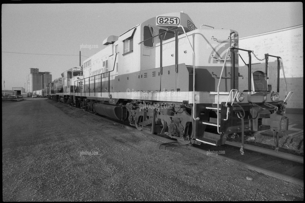 Farm Railroad Locomotive on the Old Route US Route 66. Plus-X B&W Film Scan