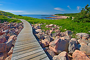 Wooden walkway along the at Green Cove Trail through the rocky shoreline along the Cabot Strait (Atlantic Ocean). Cabot Trail. Cape Breton Island.<br />Cape Breton Highlands National Park<br />Nova Scotia<br />Canada