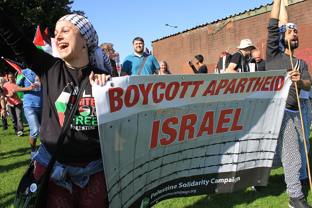 The march ended at Jubilee Gardens, next to Cardiff City Stadium. Campaigners say the example of South Africa, which, as an apartheid nation, was frozen out of international sporting events during the 1980s, should apply to present-day Israel.