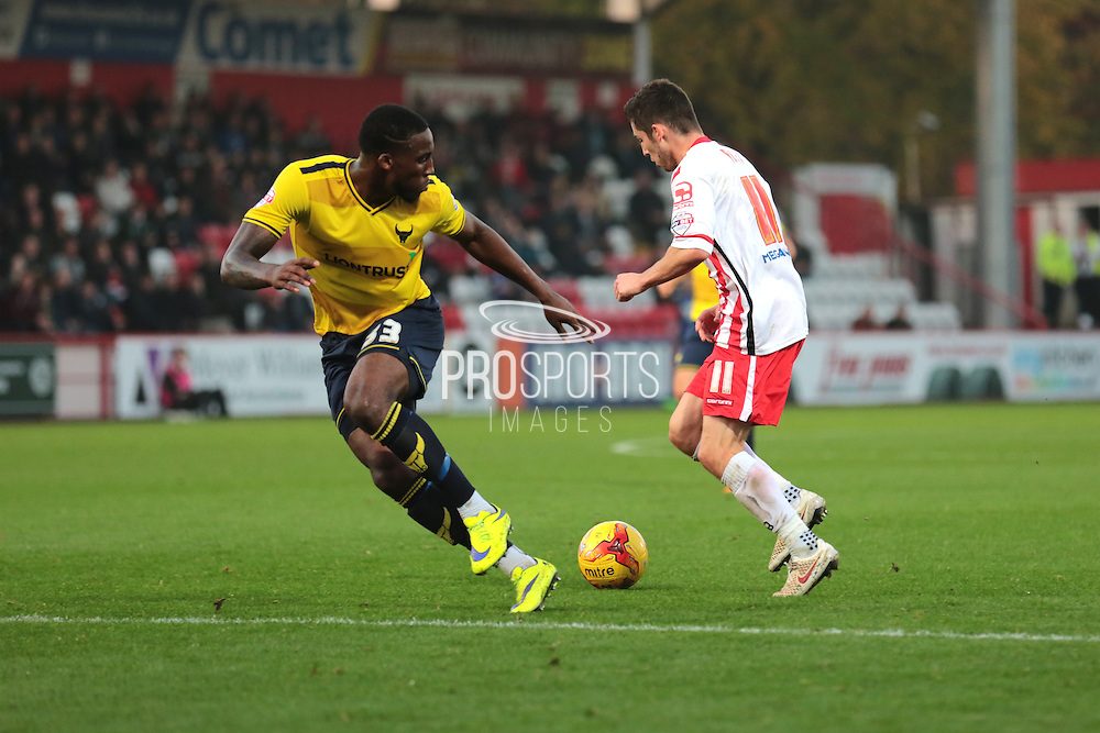 Stevenage FC midfielder Tom Pett and Oxford United defender Chey Dunkley during the Sky Bet League 2 match between Stevenage and Oxford United at the Lamex Stadium, Stevenage, England on 31 October 2015. Photo by Jemma Phillips.