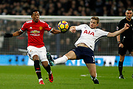 Chris Smalling of Manchester United (L) in action with Eric Dier of Tottenham Hotspur (R). Premier league match, Tottenham Hotspur v Manchester Utd at Wembley Stadium in London on Wednesday 31st January 2018.<br /> pic by Steffan Bowen, Andrew Orchard sports photography.