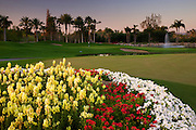 The putting green and the 9th hole of the Canyon Golf Course at the Phoenician Resort in Scottsdale, Arizona.