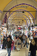 Muslim women shopping and tourists in The Grand Bazaar, Kapalicarsi, great market, Beyazi, Istanbul, Republic of Turkey