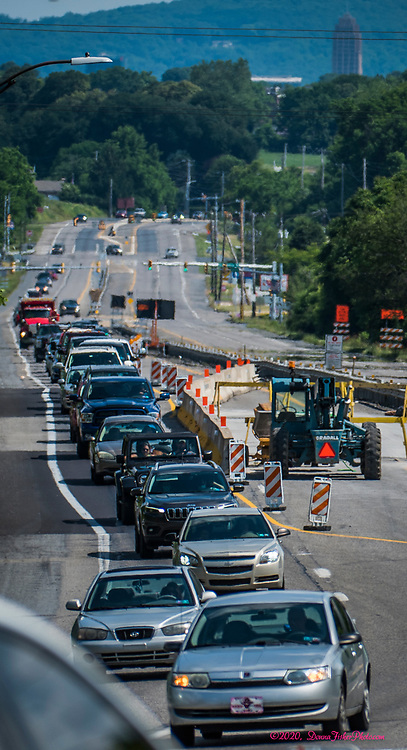 Road work constricts traffic on MacArthur Road between Chestnut Street and Columbia Street. Scenes along MacArthur Road in Whitehall Township, Lehigh County, Pa.. Picture made June, 2020.<br />  Donna Fisher Photography, LLC