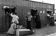 Containers were brought into the Dunkirk camp and converted into clothes shops. This was the women's donated clothing container.  <br /> April 2016