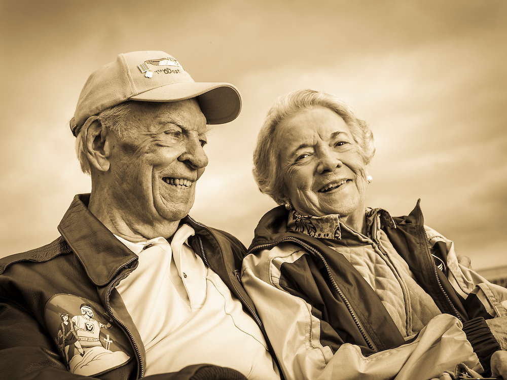"""Bob """"Punchy"""" Powell and his wife Betty were married since 1944.  She passed away in the spring of 2015.  He flew P-47 and P-51 fighter planes in Europe, and flew a total of 16 hours on D-Day.  <br /> <br /> Created by aviation photographer John Slemp of Aerographs Aviation Photography. Clients include Goodyear Aviation Tires, Phillips 66 Aviation Fuels, Smithsonian Air & Space magazine, and The Lindbergh Foundation.  Specialising in high end commercial aviation photography and the supply of aviation stock photography for advertising, corporate, and editorial use."""