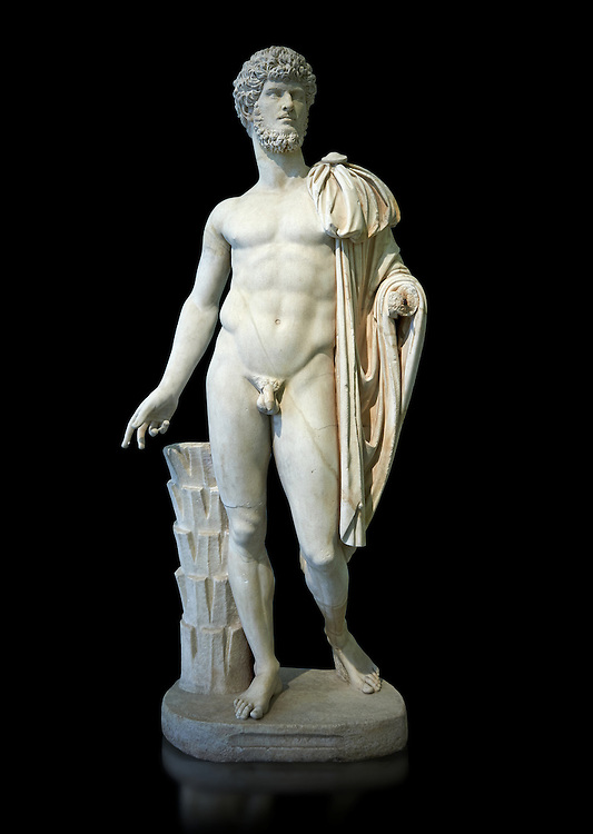 Roman staue of Lucius Verus with the idealised body of Diomedes, AD 160-170, inv 6095, Naples National Archaeological Museum, black background ..<br /> <br /> If you prefer to buy from our ALAMY STOCK LIBRARY page at https://www.alamy.com/portfolio/paul-williams-funkystock/greco-roman-sculptures.html . Type -    Naples    - into LOWER SEARCH WITHIN GALLERY box - Refine search by adding a subject, place, background colour, etc.<br /> <br /> Visit our ROMAN WORLD PHOTO COLLECTIONS for more photos to download or buy as wall art prints https://funkystock.photoshelter.com/gallery-collection/The-Romans-Art-Artefacts-Antiquities-Historic-Sites-Pictures-Images/C0000r2uLJJo9_s0