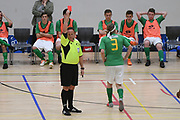 Central player Elijah Smith is red carded in the Mens Futsal Superleague match, Central v Capital, Pettigrew Green Arena, Napier, Saturday, September 28, 2019. Copyright photo: Kerry Marshall / www.photosport.nz