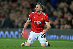 5th December 2017 - UEFA Champions League - Group A - Manchester United v CSKA Moscow - Luke Shaw of Man Utd looks dejected - Photo: Simon Stacpoole / Offside.