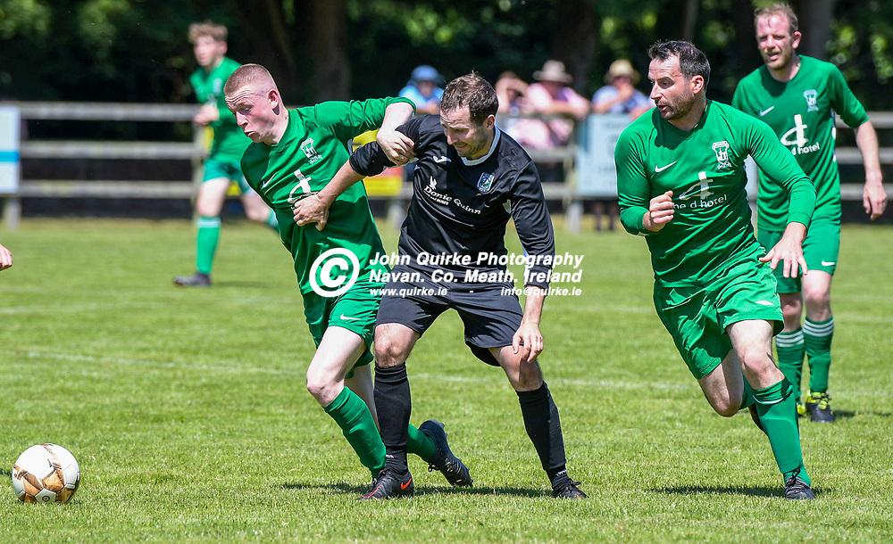 Luke Jenkins (Duleek), races towards the ball with Brian Faulkner (Trim Celtic)   during the Trim Celtic v Duleek, NEFL (Premier) match in Tully Park, Trim.<br /> <br /> Photo: GERRY SHANAHAN-WWW.QUIRKE.IE<br /> <br /> 18-07-2021