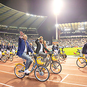 BRUSSELS, BELGIUM:  September 3:   Athlete legends during a lap of honour on bikes at the Wanda Diamond League 2021 Memorial Van Damme Athletics competition at King Baudouin Stadium on September 3, 2021 in  Brussels, Belgium. (Photo by Tim Clayton/Corbis via Getty Images)