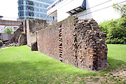 Remains of Saxon and Roman city wall, London, England, site near the Barbican and London Museum