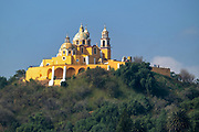 Virgen de Los Remedios church exterior facade, in San Pedro Cholula outside Puebla, Mexico. The church was built on top of a pyramid pre-dating the Spanish conquest of Mexico.