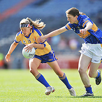 28 September 2008; Aine Kelly, Clare, in action against Claire Carroll,Tipperary. TG4 All-Ireland Ladies Intermediate Football Championship Final, Clare v Tipperary, Croke Park, Dublin. Picture credit: David Maher / SPORTSFILE *** NO REPRODUCTION FEE ***