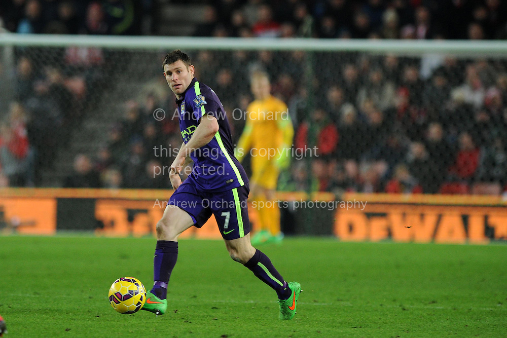 James Milner of Manchester city in action.  Barclays Premier League match, Stoke city v Manchester city at the Britannia Stadium in Stoke on Trent , Staffs on Wed 11th Feb 2015.<br /> pic by Andrew Orchard, Andrew Orchard sports photography.