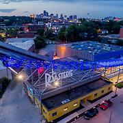 Roasterie Coffee Company headquarters drone's eye view at dusk, Westside neighborhood in vicinity of downtown Kansas City, Missouri.