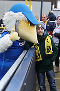 Haydon the Womble with an Oxford United fan during the EFL Sky Bet League 1 match between AFC Wimbledon and Oxford United at the Cherry Red Records Stadium, Kingston, England on 10 March 2018. Picture by Matthew Redman.