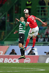 February 3, 2019 - Lisbon, Portugal - Benfica's Brazilian defender Jardel vies with Sporting's forward Bas Dost from Holland during the Portuguese League football match Sporting CP vs SL Benfica at Alvalade stadium in Lisbon, Portugal on February 3, 2019. (Credit Image: © Pedro Fiuza/ZUMA Wire)