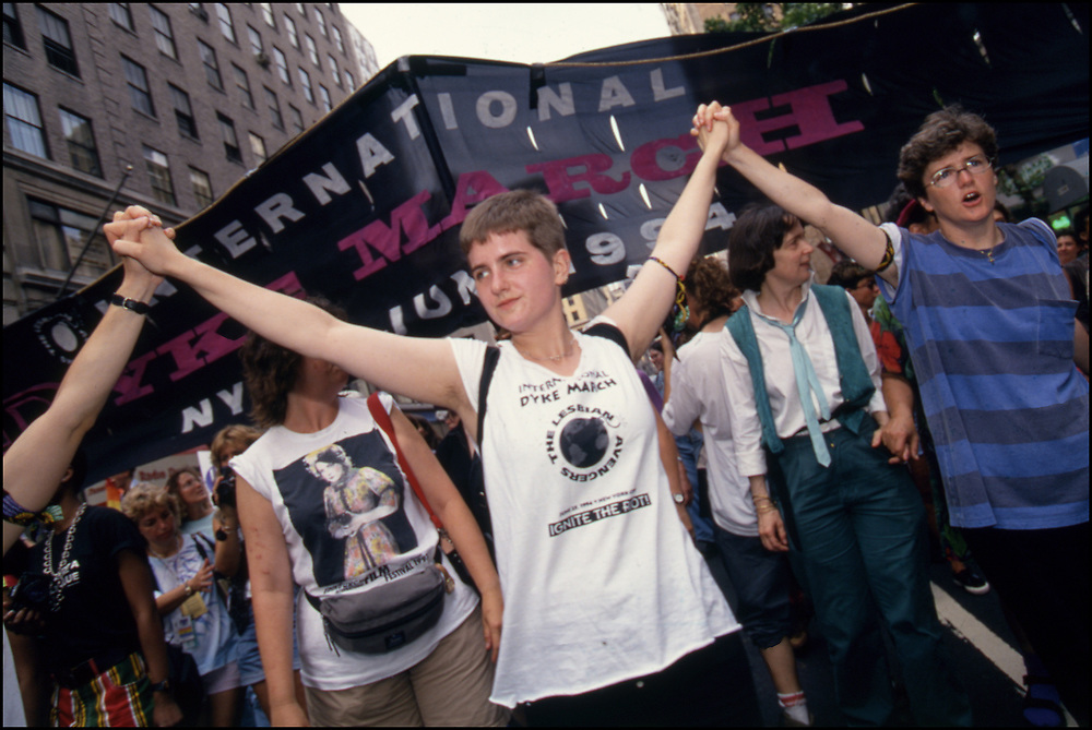 Anne Stott marches in New York City's annual Dyke March with the Lesbian Avengers in June of 1994.