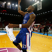 Anadolu Efes's Stephane Lasme celebrate victory during their Turkish Airlines Euroleague Basketball Top 16 Round 11 match Anadolu Efes between Nizhny Novgorod at Abdi ipekci arena in Istanbul, Turkey, Thursday March 19, 2015. Photo by Aykut AKICI/TURKPIX