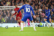 Liverpool defender Joe Gomez (12) and Chelsea forward Alvaro Morata (29) during the Premier League match between Chelsea and Liverpool at Stamford Bridge, London, England on 29 September 2018.