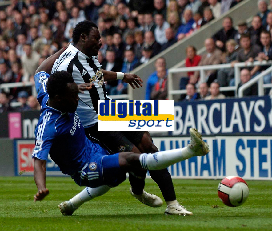 Photo: Jed Wee/Sportsbeat Images.<br /> Newcastle United v Chelsea. The Barclays Premiership. 22/04/2007.<br /> <br /> Chelsea's Michael Essien (L) clatters into Newcastle's Obafemi Martins and earns a yellow card for his troubles.