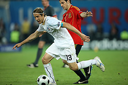 Massimo Ambrosini of Italy (13) vs Cesc Fabregas of Spain (10) during the UEFA EURO 2008 Quarter-Final soccer match between Spain and Italy at Ernst-Happel Stadium, on June 22,2008, in Wien, Austria. Spain won after penalty shots 4:2. (Photo by Vid Ponikvar / Sportal Images)