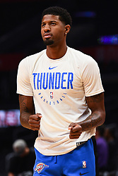 October 19, 2018 - Los Angeles, CA, U.S. - LOS ANGELES, CA - OCTOBER 19: Oklahoma City Thunder Forward Paul George (13) works out before a NBA game between the Oklahoma City Thunder and the Los Angeles Clippers on October 19, 2018 at STAPLES Center in Los Angeles, CA. (Credit Image: © Brian Rothmuller/Icon SMI via ZUMA Press)