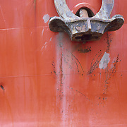 Anchor on a fishing boat in Gloucester harbor, Massachusetts