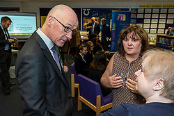 Pictured: John  Swinney met Christine Babbs, Lifelong Learning Leader, Liberton High School and Lynne Brown, Lifelong Learning Leader,Gracemount High School who were also involved in the project.<br /> <br />  The Deputy First Minister and Education Secretary visited the Royal High School in Edinburgh today and met students and staff to learn about a school library project aimed at tackling mental health issues.<br /> <br /> Ger Harley | EEm 10 October 2019