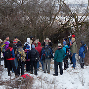 Denver Holt discusses the ecology of a long-eared owl with the local Missoula, Montana, Audubon chapter group.