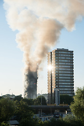 June 14, 2017 - London, London, UK - A major fire has engulfed the 24-storey Grenfell Tower block in Latimer Road, White City. The blaze started early Wednesday morning and has spread through most of the building. (Credit Image: © Ray Tang via ZUMA Wire)