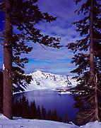 Mountain Hemlocks, Tsuga mertensiana, framing 8,151 foot Hillman Peak rising above Crater Lake, Crater Lake National Park, Oregon.