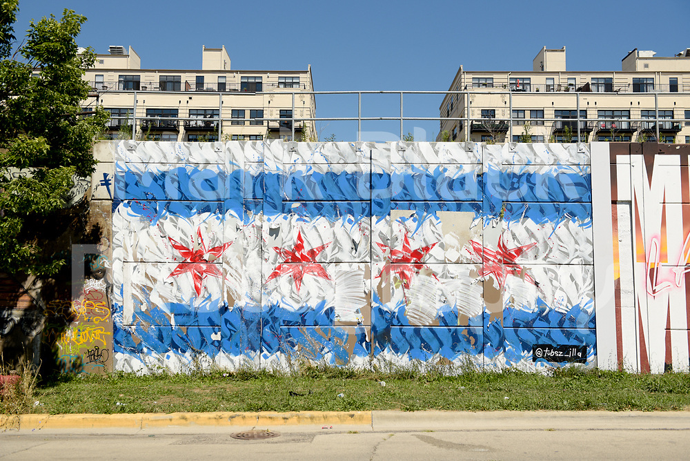 Murals in the Pilsen neighborhood of Chicago  along 16th Street on Wednesday, Aug. 19, 2020.  Photo by Mark Black