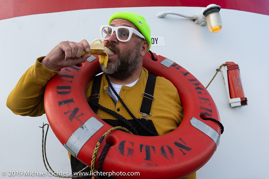 JJ (Jeremi Johnson) having some fun on the SS Badger Lake Michigan ferry during the Cross Country Chase motorcycle endurance run from Sault Sainte Marie, MI to Key West, FL (for vintage bikes from 1930-1948). Stage 2 from Ludington, MI to Milwaukee, WI, USA. Saturday, September 7, 2019. Photography ©2019 Michael Lichter.